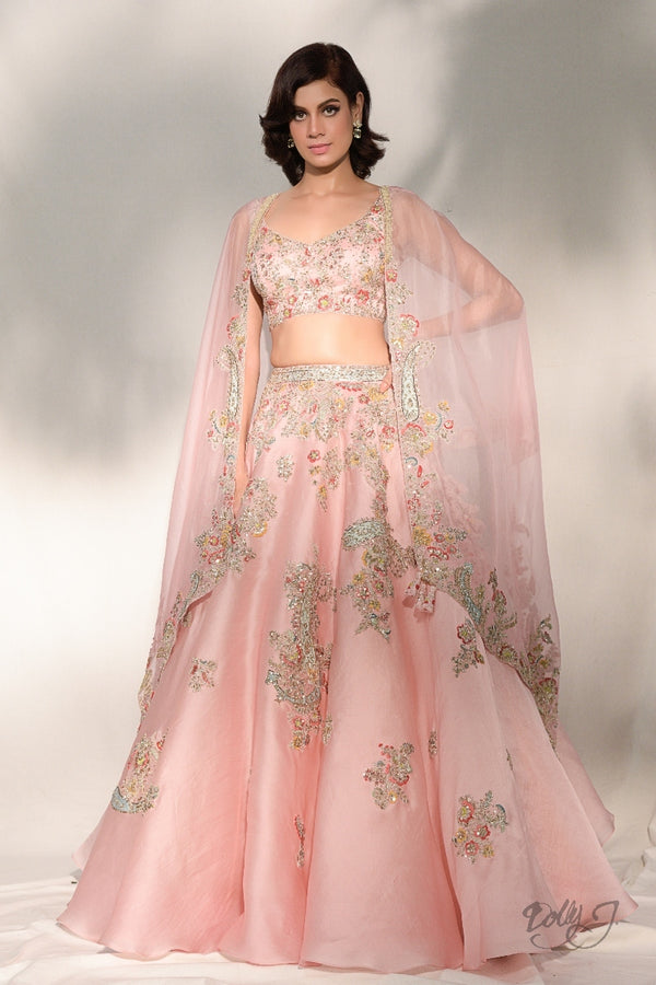 """Verona"" Silk Organza Lehenga Set With Zardozi Embroidery"