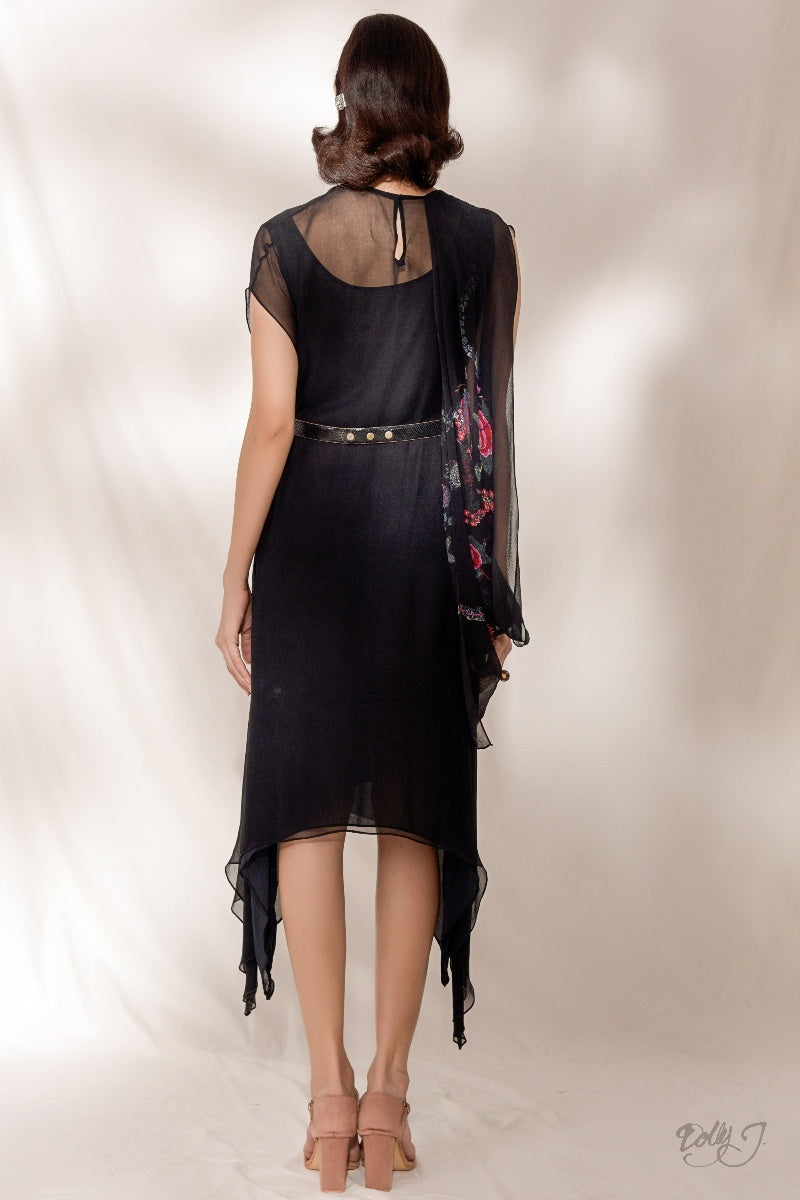 """Bonita"" Asymmetrical Printed Chiffon Dress"
