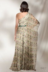 """Yana"" Printed Chiffon Off-Shoulder Gown"