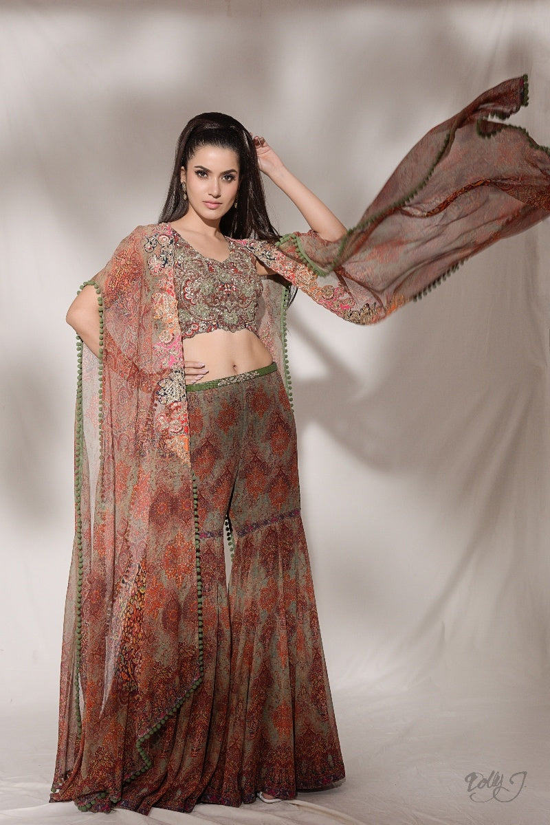 """Inessa"" Printed Chiffon Cape And Sharara Set"