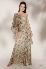 """Moanna"" Printed Chiffon Draped Gown"