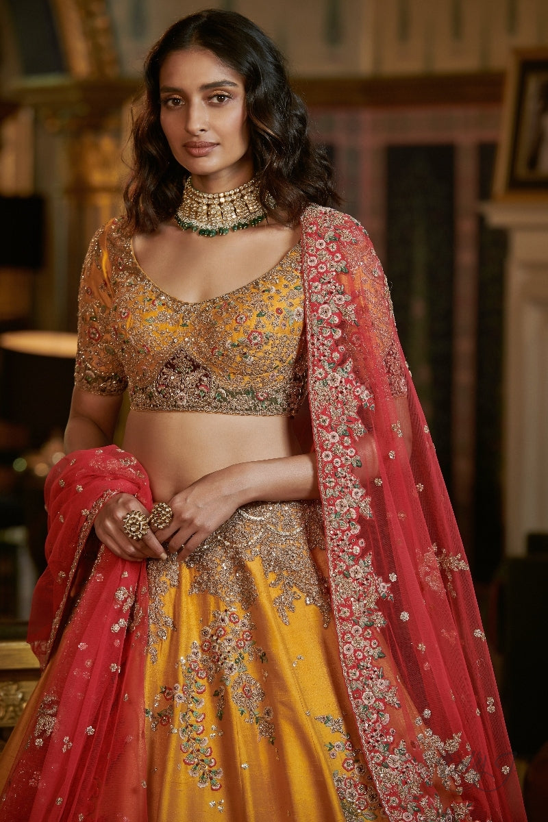 """Nyraa"" Raw Silk Bridal Lehenga Set"