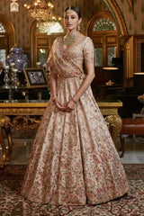 """Erisha"" Raw Silk Bridal Lehenga Set"