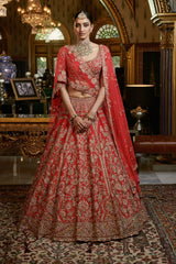 """Yuvika"" Raw Silk Bridal Lehenga Set"