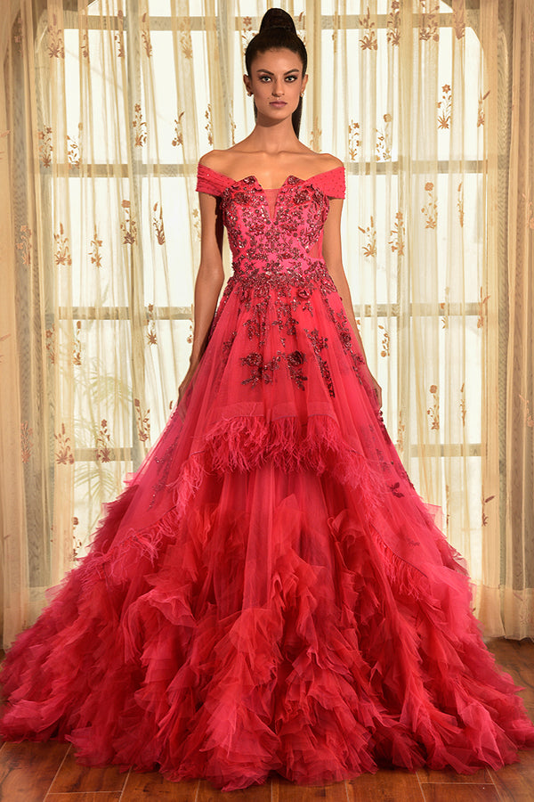 """LITTLE CHIARA"" CRIMSON RUFFLE GOWN"