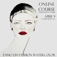 Load image into Gallery viewer, red lips girl fashion watercolor online course