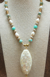 Large Mother of Pearl Mosaic Pendant Necklace