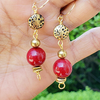 Red Coral and Bronze Earrings / Gold-filled Earwires