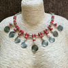 Red Festive Necklace with Metal Charms