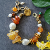 Pearl and Raw Amber Bracelet