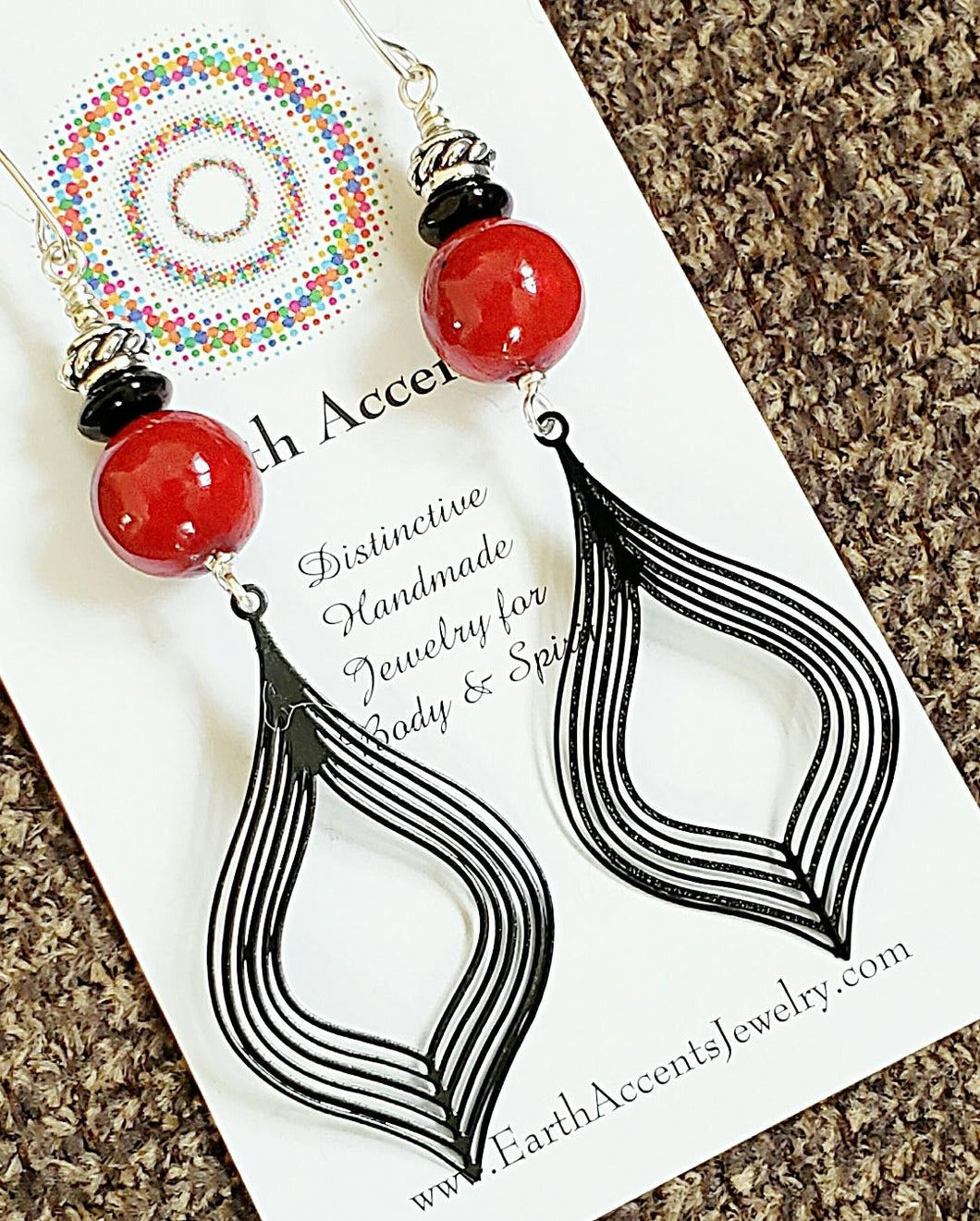 Exotic Red and Black Filigree Drop Earrings