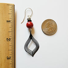 Load image into Gallery viewer, Exotic Red and Black Filigree Drop Earrings