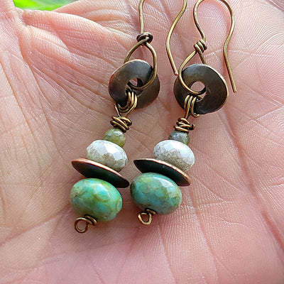 Earthy Czech Beaded Earrings
