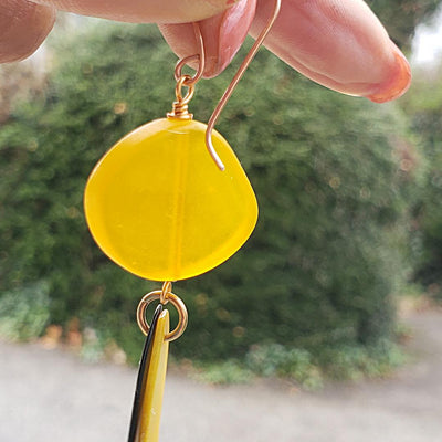 Exotic Yellow Earrings with Tagua Slices