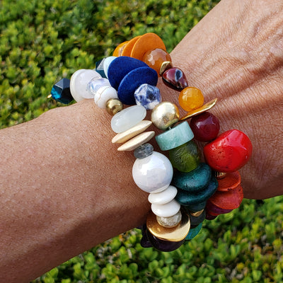 Colorful Stones Spiral Bracelet