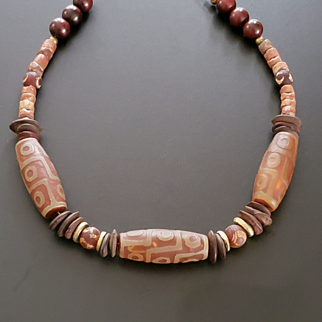 Men's Brown Stone Afrocentric Necklace