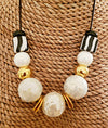 Stylish Glazed White Ceramic Necklace