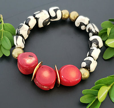 Red Coral and Bone Stretch Bracelet