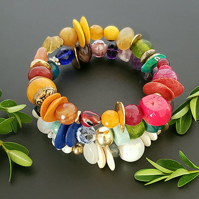 Beautiful Spiral Bracelet with Colorful Stones