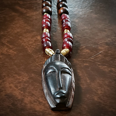 Men's Carved Wood Pendant on Adjustable Cord Necklace
