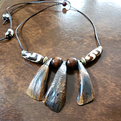 Men's Water Buffalo Tooth Tribal Necklace on Adjustable Cord