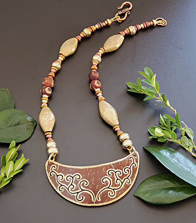 Exotic pendant with Ethiopian Brass Necklace