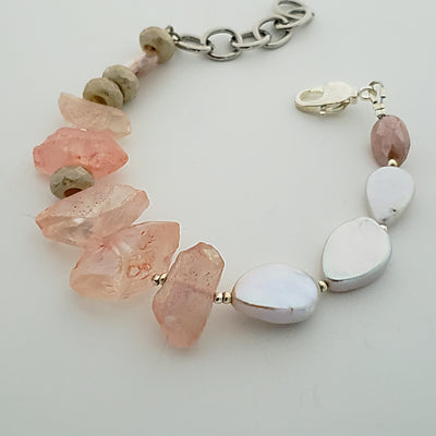 Quartz and Pearl Bracelet