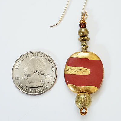 Long Red / Gold Brush Ceramic Earrings