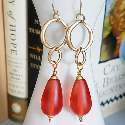 Long Orange Seaglass Earrings