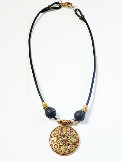 Engraved Brass Pendant Necklace