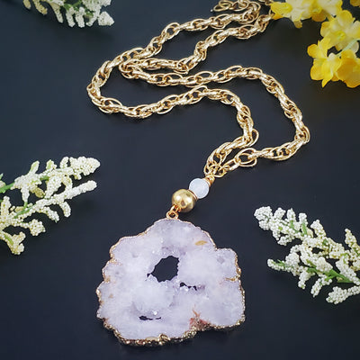 White Crystal Pendant Chain Necklace