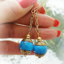 Load image into Gallery viewer, Nepal Capped Blue Dangling Earrings