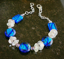 Load image into Gallery viewer, Lampworked Blue and Clear Glass Necklace