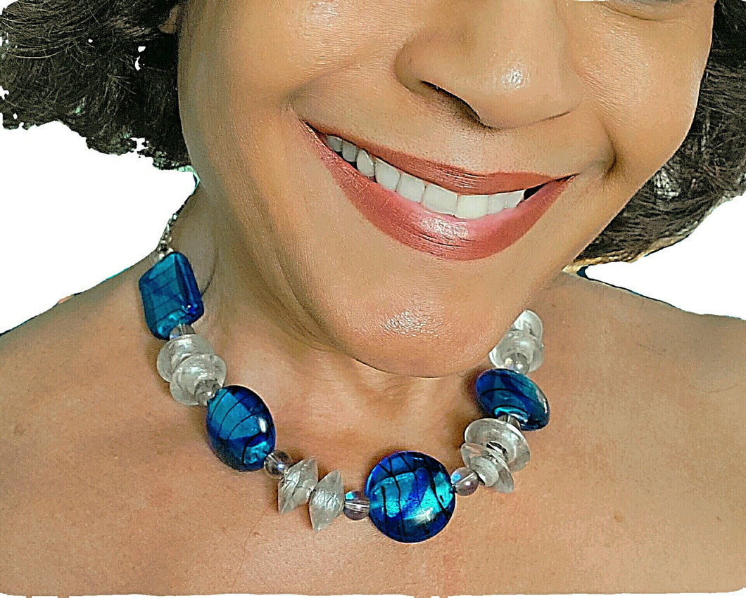 Lampworked Blue and Clear Glass Necklace