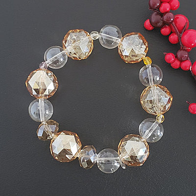 Faceted Glass Stretch Bracelet