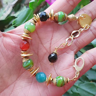 Multi-Colored Onyx & Agate Gemstone Bracelet