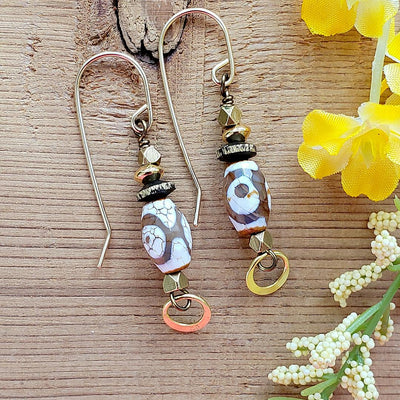 Dzi Tibetan Earrings