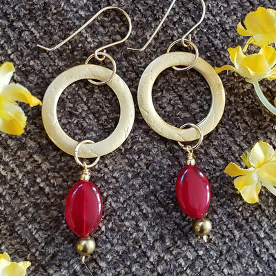 Long Red Onyx Hoops
