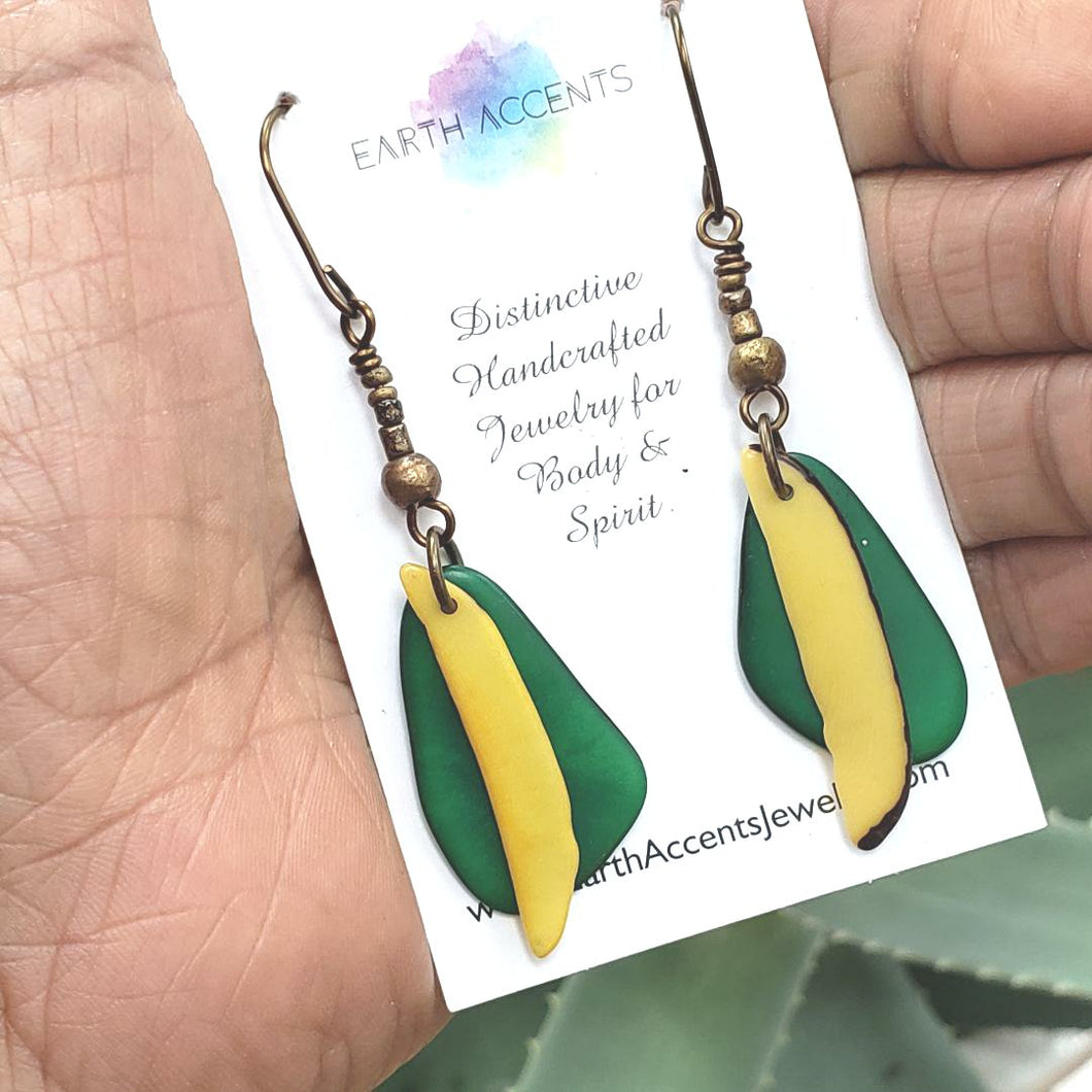 Yellow and Green Tagua Feather Earrings