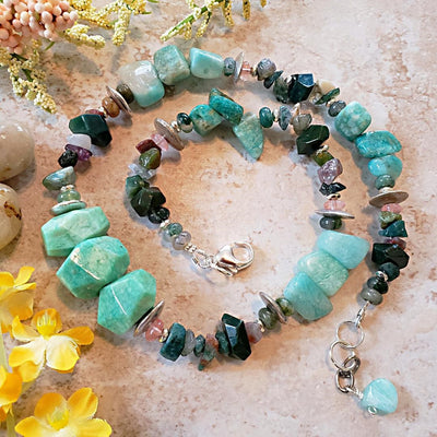 Amazonite Nugget Necklace with Jasper Chips