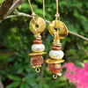 Dangling Czech Glass and Gold Earrings
