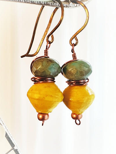 Yellow  Paper and Glass Earrings