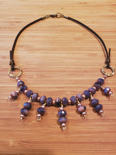 Purple Czech Glass Necklace, Suede Cord