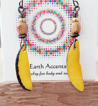Load image into Gallery viewer, Tagua Nut Earrings / Yellow Dangling