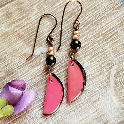 Tagua Nut Earrings / Pink Earrings