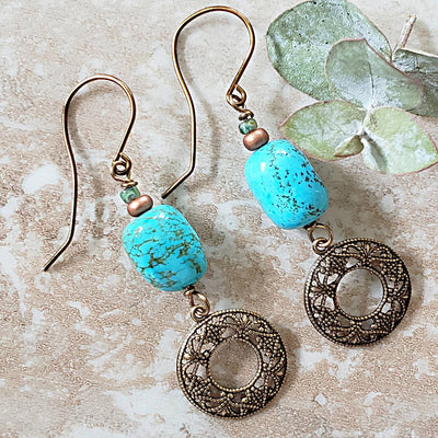 Turquoise Magnesite Earrings with Filigree Charms