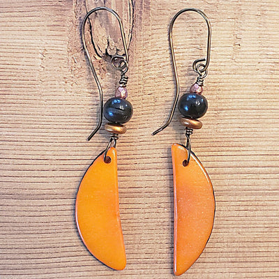 Tagua Nut Slice Earrings / Long Orange