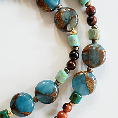 Jasper Pendant Beaded Necklace