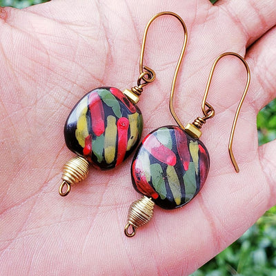 African Inspired Kazuri Clay Earrings