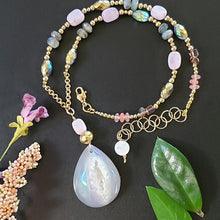 Load image into Gallery viewer, Precious Crystals Necklace with Pink Stone Pendant